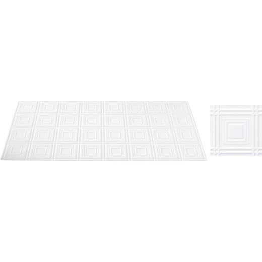 Dimensions 2 Ft. x 4 Ft. White 6 In. Square Pattern Tin Look Nonsuspended Ceiling Tile & Backsplash