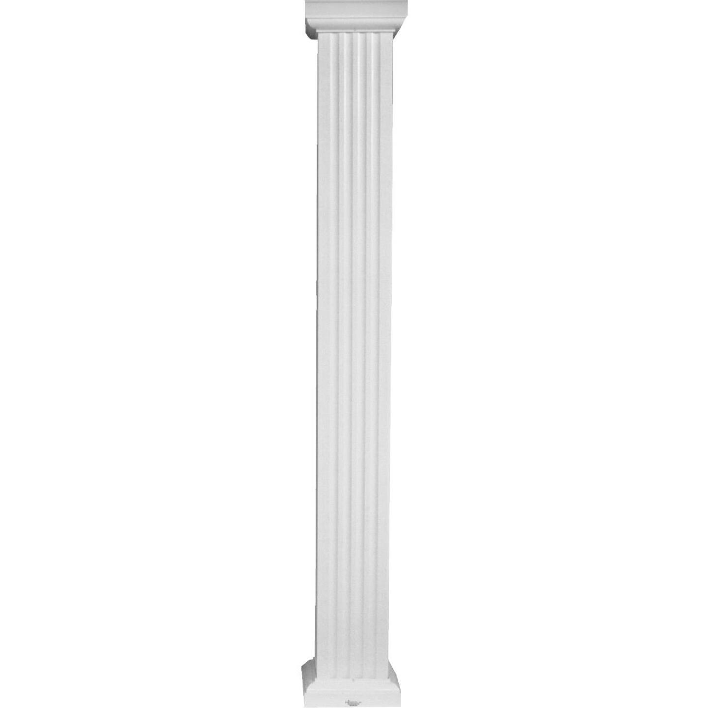 Crown Column 8 In. x 9 Ft. White Powder Coated Square Fluted Aluminum Column Image 1