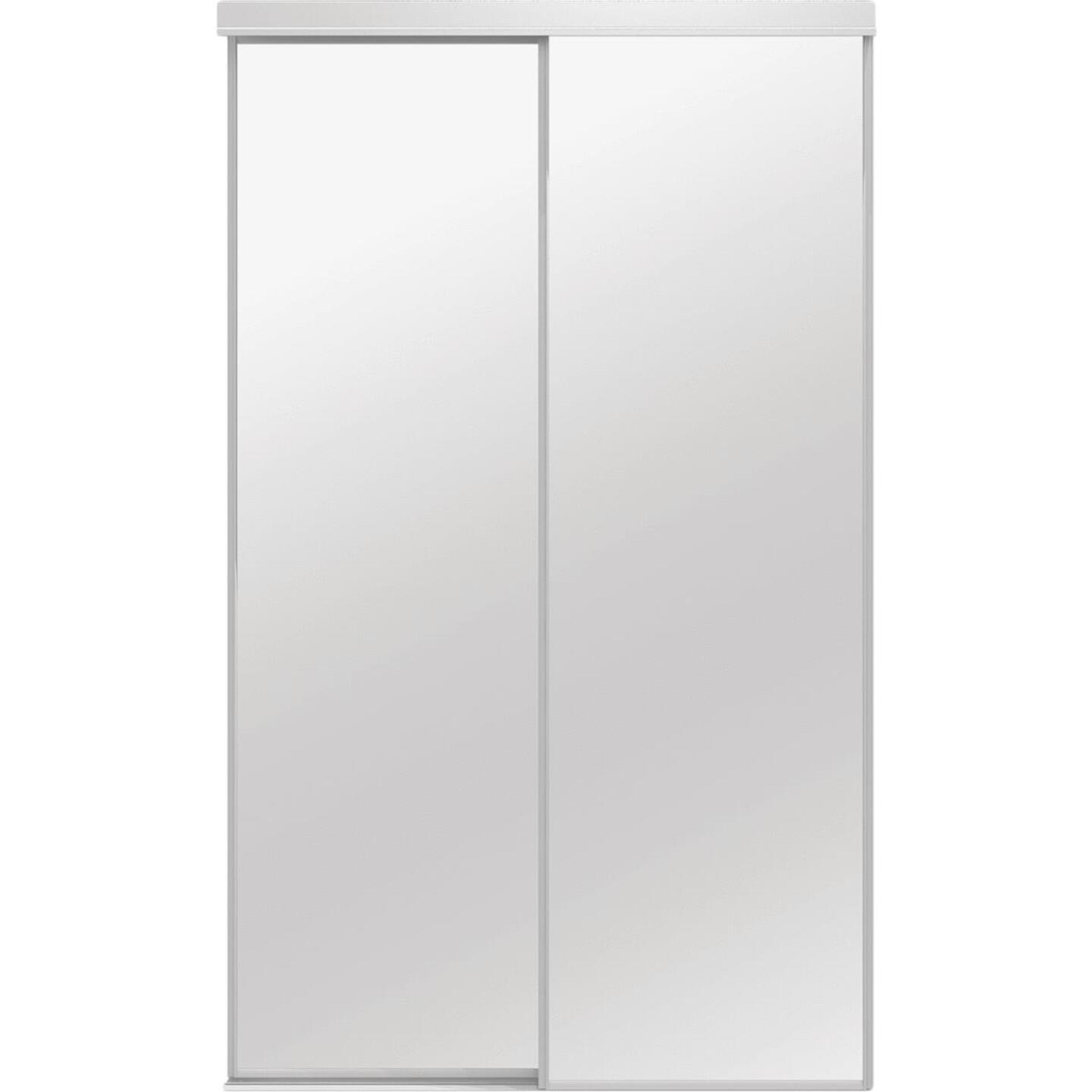 Colonial Elegance Classic 72 In. W x 80-1/2 In. H White Framed Mirrored Sliding Bypass Door Image 1