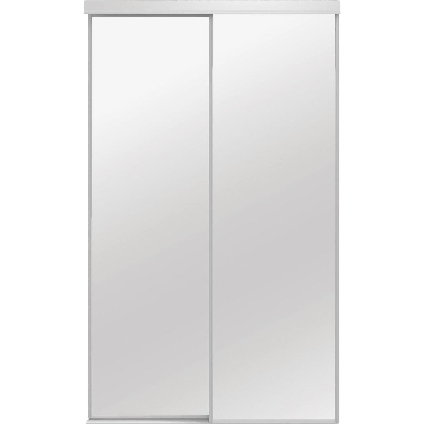 Colonial Elegance Economical Series 60 In. x 80-1/2 In. White Framed Mirrored Sliding Bypass Door Image 1
