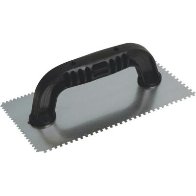 QLT 1/8 In. Square Notched & 1/8 In. Flat V-Notched Trowel w/Black Handle