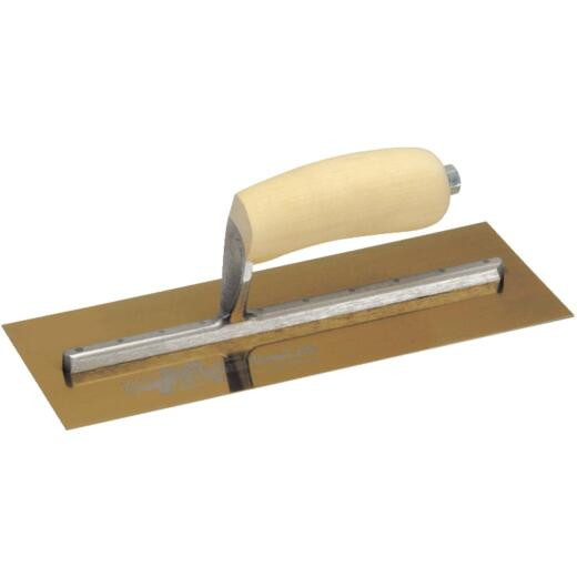 Marshalltown 4-1/2 In. x 11 In. Golden Stainless Steel Finishing Trowel with Curved Wood Handle