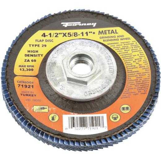 Forney 4-1/2 In. x 5/8 In.-11 60-Grit Type 29 High Density Blue Zirconia Angle Grinder Flap Disc