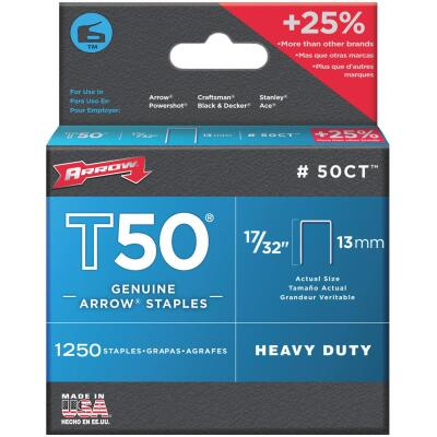 Arrow T50 Heavy-Duty Staple, 17/32 In. (1250-Pack)