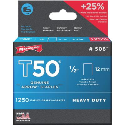Arrow T50 Heavy-Duty Staple, 1/2 In. (1250-Pack)