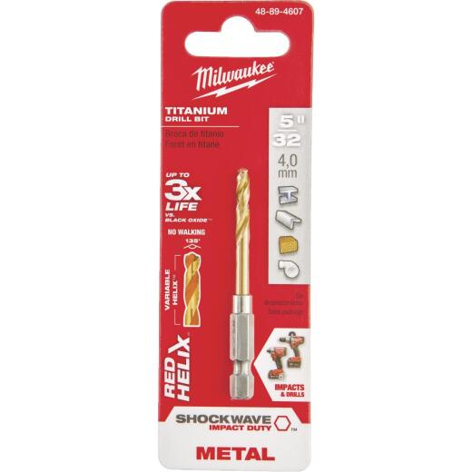 Milwaukee Shockwave Impact Duty 5/32 In. Titanium Hex Shank Drill Bit