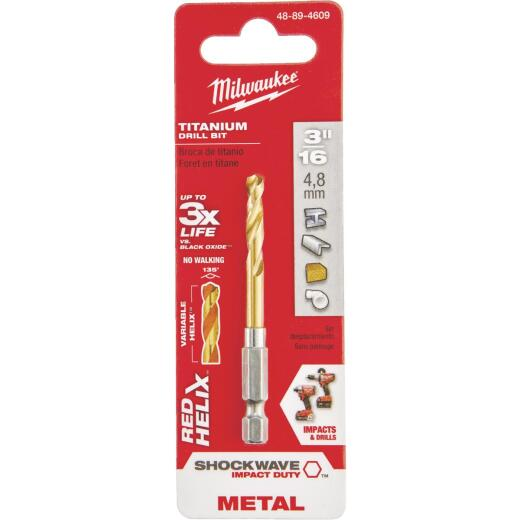 Milwaukee Shockwave Impact Duty 3/16 In. Titanium Hex Shank Drill Bit