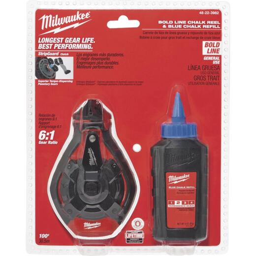 Milwaukee 100 Ft. Bold Line Chalk Line Reel and Chalk, Blue