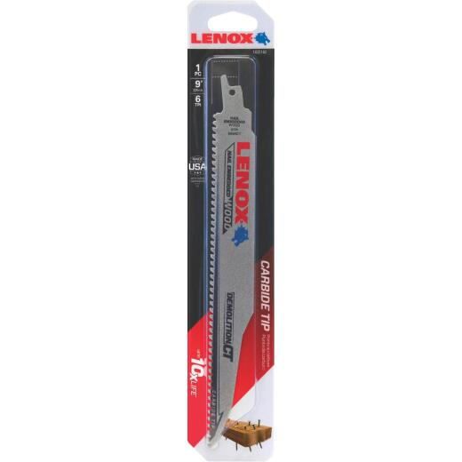 Lenox Demolition CT 9 In. 6 TPI Wood w/Nails Demolition Reciprocating Saw Blade