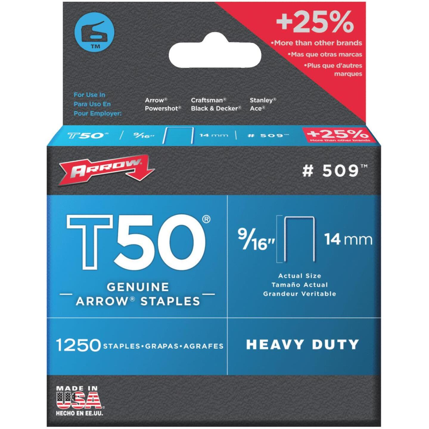 Arrow T50 Heavy-Duty Staple, 9/16 In. (1250-Pack) Image 1