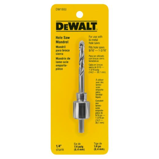 DeWalt 1/4 In. Hex Shank Hole Saw Mandrel Fits Hole Saws 9/16 In. to 1-3/16 In.