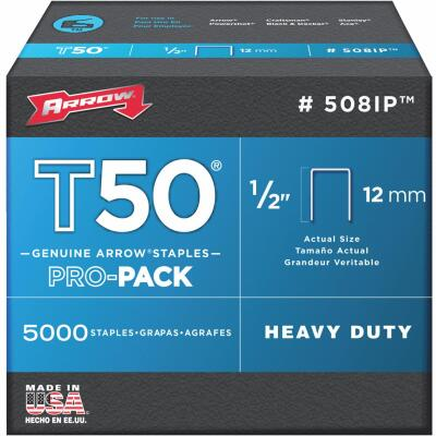 Arrow T50 Pro-Pack Heavy-Duty Staple, 1/2 In. (5000-Pack)