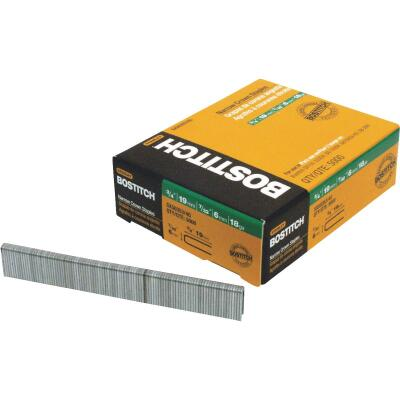Bostitch 18-Gauge Galvanized Narrow Crown Finish Staple, 7/32 In. x 3/4 In. (5000 Ct.)