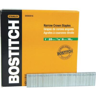 Bostitch 18-Gauge Galvanized Narrow Crown Finish Staple, 7/32 In. x 1 In. (5000 Ct.)