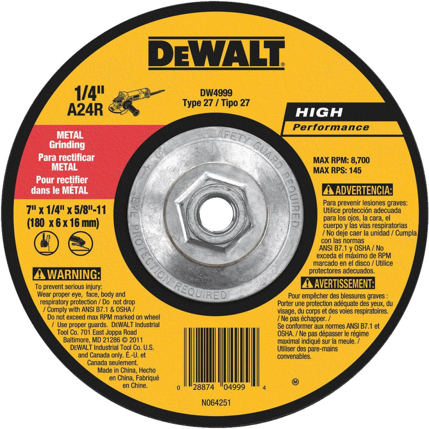 DeWalt HP Type 27 7 In. x 1/4 In. x 5/8 In.-11 Metal Grinding Cut-Off Wheel Image 1