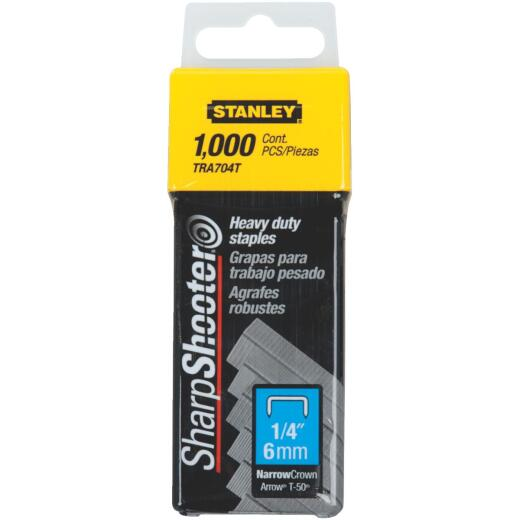Stanley SharpShooter Heavy-Duty Narrow Crown Staple, 1/4 In. (1000-Pack)