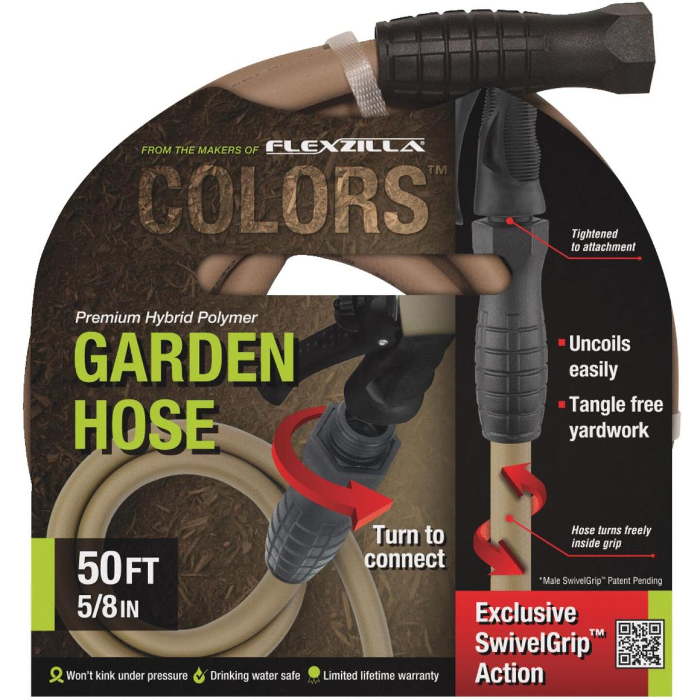 Flexzilla Colors 5/8 In. Dia. x 50 Ft. L. Drinking Water Safe Garden Hose with SwivelGrip Connections Image 1