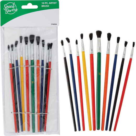 Smart Savers Assorted - 1/8 In. To 1/4 In. Polyester Artist Brush Set (10-Piece)
