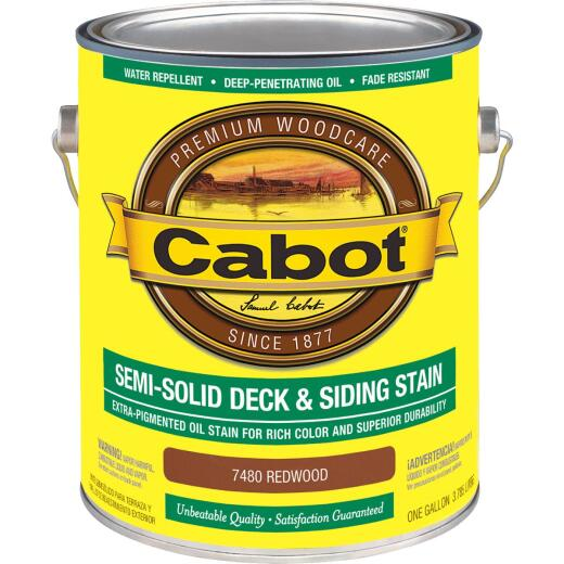 Cabot Semi-Solid Deck & Siding Stain, Redwood, 1 Gal.