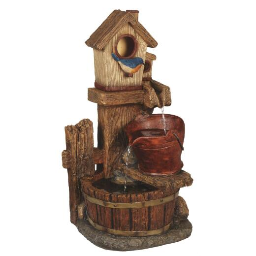 Best Garden 13.5 In. W. x 26.5 In. H. x 10.5 In. L. Polyresin Birdhouse Fountain